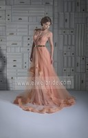 S1079 Pink Cap Sleeve Tulle Lace African Evening Dress Pattern