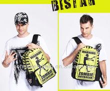 Impresión a todo color amarillo zombie enorme mochila bolso de la cremallera para los hombres, bbp117