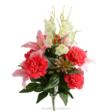 peony and lily silk artificial bush flower with berry for festival decoration