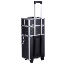 Super buy 3 in1 Pro Aluminum Rolling Makeup Cosmetic Train Case Wheeled Box 3 Color (Black Diamond)