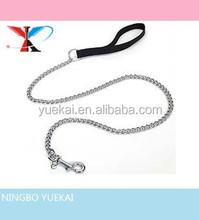 Metal Fine Chain Dog Leash / Lead with Black Nylon Handle (2 mm, 4 ft.)