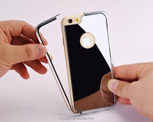 Wholesale ! Luxury metal bumper with mirror cover cell phone case for iPhone 6