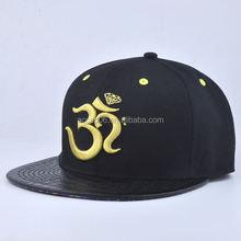 snapback hat/cap with flat brim/black snapback customzie