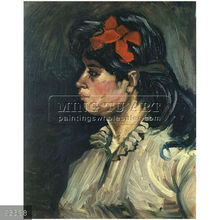 Handmade Vincent van Gogh impressionist portrait oil painting, Portrait of a Woman with Red Ribbon