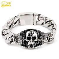 newest jewelry design stainless steel casting charm bracelet with skull