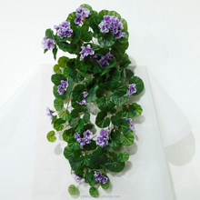 high quality 70cm purple begonai flower bush wall hanging artificial plastic flower for outdoor&indoor decoration