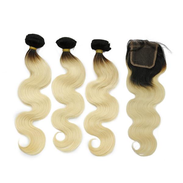 Top Qualité Blonde Vierge Cheveux Humains Fermeture Péruvienne Ombre Cheveux Extension