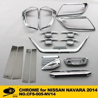 Complete Full Set of Exterior Chrome accessories with 3M Tape fitsNISSAN NAVARA 2014 chrome car accessories