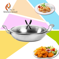 Double handles stainless steel frying pan fry pot with tri-ply induction bottom