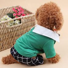 color green grid pants dog clothes shirt pet
