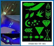 Custom New 2015 hot sale Fake glow in dark Temporary new design Tattoo