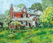 beautiful rural architecture knife oil painting of landscape