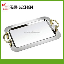 High Qulity Hotel Serving Squre Tray With Gold/Silver Handle Resturant Plate Table Dish Kitchen Utensils Mirror Serving Tray