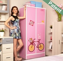 Home storage portable folding assemble sliding wardrobe european romantic style home bedroom furniture princess fashion wardrobe