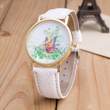 womens PU leather alloy white case colors dials golden kids fancy printing geneva butterfly watch