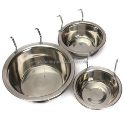 High quality Stainless Steel Cage Coop Cup Pet Bird Dog Puppy Food Water Bowl Hanger