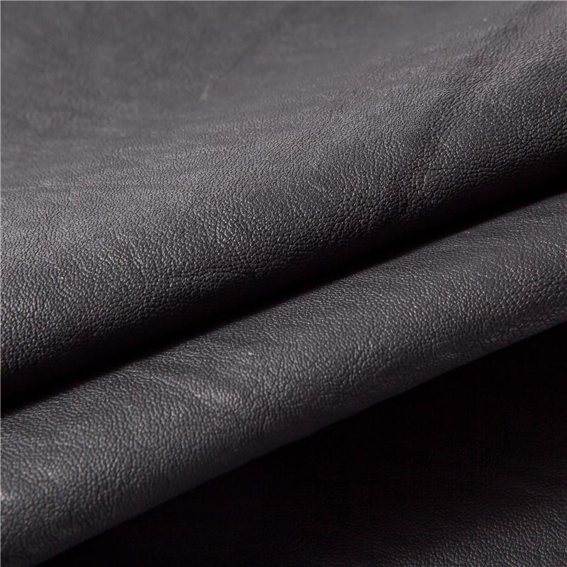 Negro sensación suave pu cuero tela para hacer chaqueta de cuero
