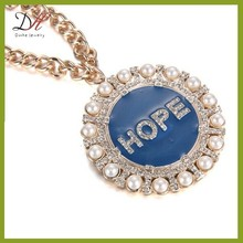 Daihe DH-NC1395 gold long chain pearl necklace,faith love hope necklace
