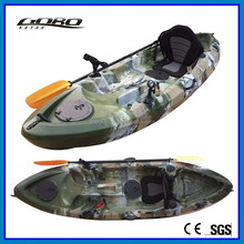 Camo sit on top fishing kayak with 4 flush rod holders