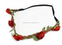 Flower Crown Headband - halo, headband, bridal, wedding, garland, floral hair wreath, flower girl, festival