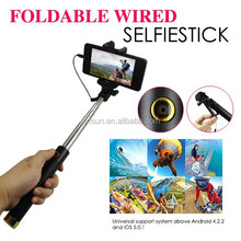 2015 Self-timer Cable Take Pole Selfie Stick,Promotional usb Selfie-Stick with Cable monopod wired