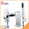 New polished deck mounted double handle square bathtub faucet with handheld shower head
