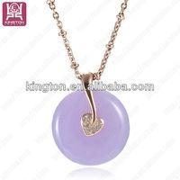 Women's light purple Jade stone necklace