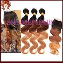caliente venta de cabello virgen de paquetes con cordón de cierre