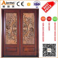 villa doube entry door solid wood copper carve decorative entrance door