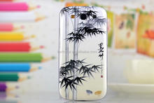 new 3D black bamboo design hard mobile phone part battery cover for samsung galaxy S3 i9300
