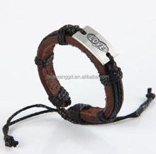 """Hot sale fashion braided leather wrap with """"LOVE"""" alloy charm hand made bracelet"""
