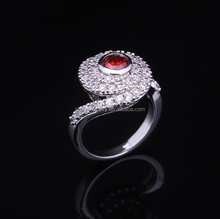 fashion ladies aaa red zircon ring jewels silver 925