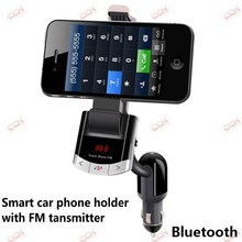 Smart bluetooth car phone holder and hands free car kit with fm transmitter and 5V/1A car charger