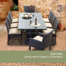 restaurant hotel garden use long table with 8 chairs outdoor rattan dining room funiture