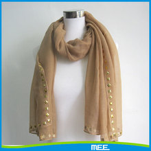 selvedge sequined lady polyester scarf