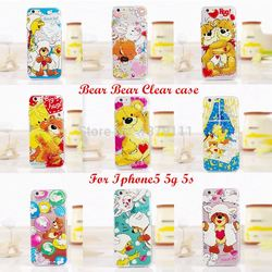 2015 The Newest Japan cartoon animals cute bear bear &yellow duck rabbit sheep Giraffe Clear Tpu case For iphone 5 5g 5s 6 6s