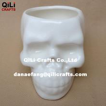 morden unique desing ceramic skull face flower pot planter ceramic vase
