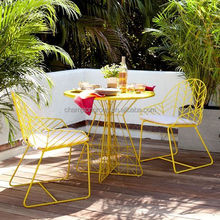 steel metal chippendale bistro chair and round table for outdoor