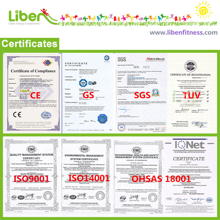 outdoor exercise equipment manufacture certificates