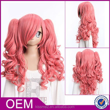 2015 Cheapest fashion 100% synthetic pink cute cosplay wigs
