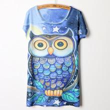 3d cartoon owl digital printing ladies short sleeve t-shirt female summer shirt