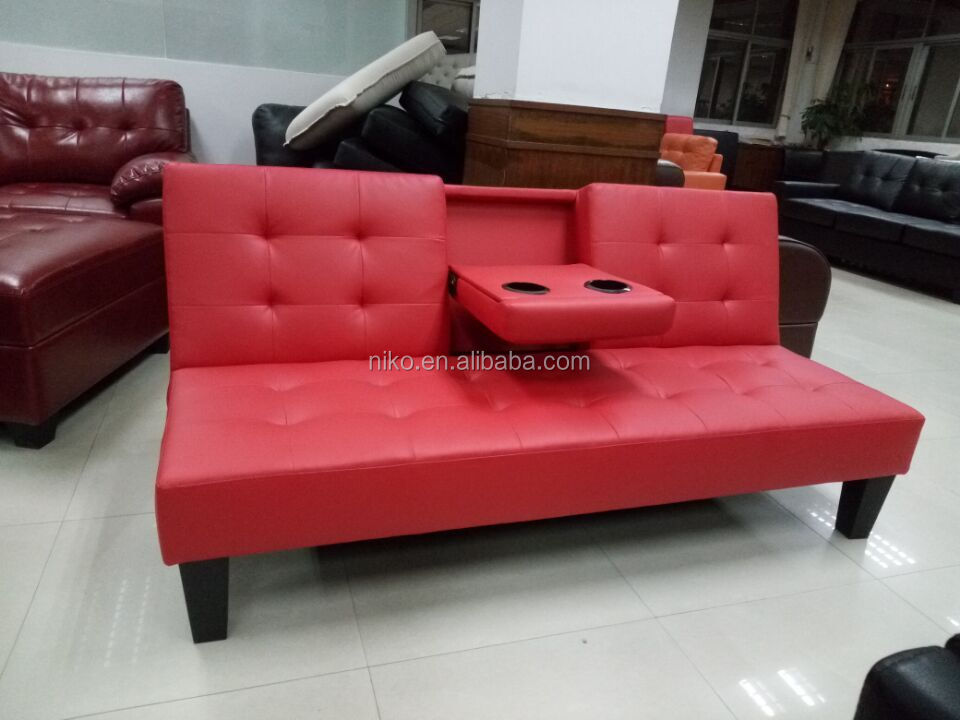 Modern folding futon cheap leather sofa bed with cup for Cheap black sofa bed