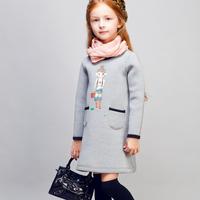 COOL KID ZONE 2015 kids girls autumn dresses casual Pullovers dress long sleeve long girl dress