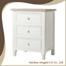 Three Drawers White Nightstand Wooden Bedside Table, tea table, end table