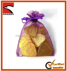 2014 Hot sale printed drawstring organza bags, organza gift bag for weddings