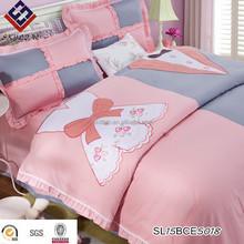 High-end European Pink Princess Cotton Satin Embroidery flounces children bed