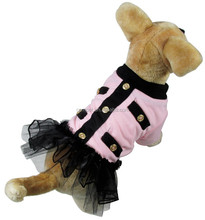 Pet Costume Cotton Fleece Light Pink Dog Skirts with Sponge Flocking Lining