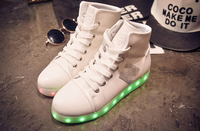 hot sell high upper white LED shoes flashing light adult, best quality cheap price high top white LED light flash casual shoes