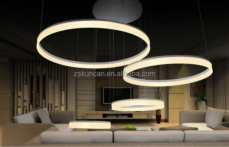 contemporary design acrylic ring led chandelier for lobby. Black Bedroom Furniture Sets. Home Design Ideas