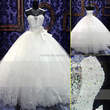 2015 Zuhair Murad New Wedding Dress Ball Gown SWAROVSKI Luxury Crystals Beaded Lace Bridal Gown FMG03